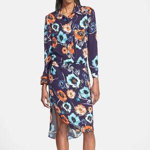 Haute Hippie Floral Silk Shirt Dress High Low